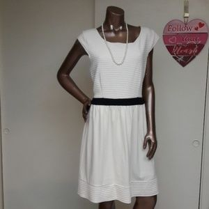 NWT Winter White Texture Fit & Flare Dress